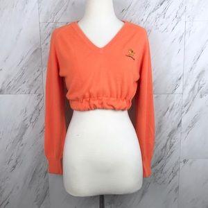 Vintage Camelback Cropped V-Neck Sweater